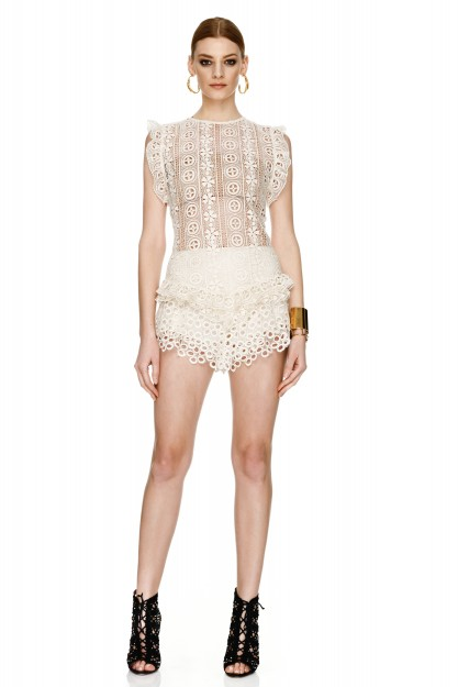 Off White Lace Cotton Crocheted Top