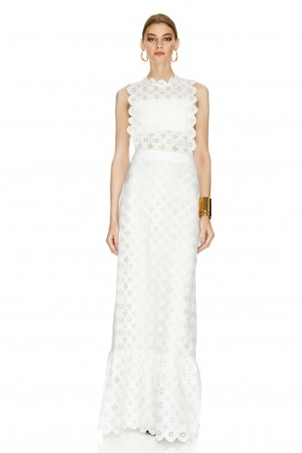 White Crocheted Lace Long Dress - PNK Casual