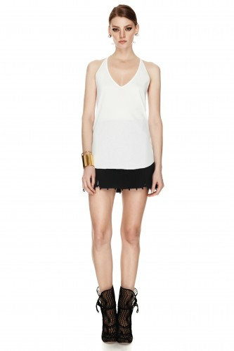 White Cotton Tank Top - PNK Casual