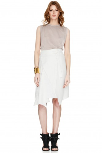 White Viscose And Ramie-Blend Skirt - PNK Casual