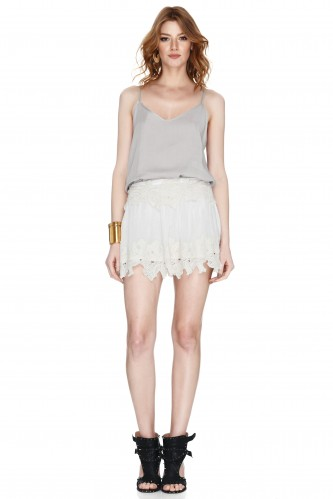 Off White Lace Mini Skirt - PNK Casual