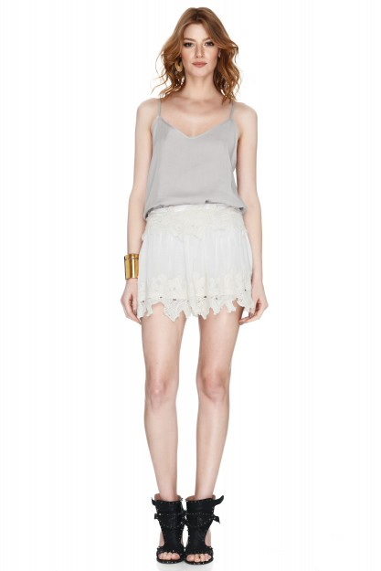 Off White Lace Mini Skirt