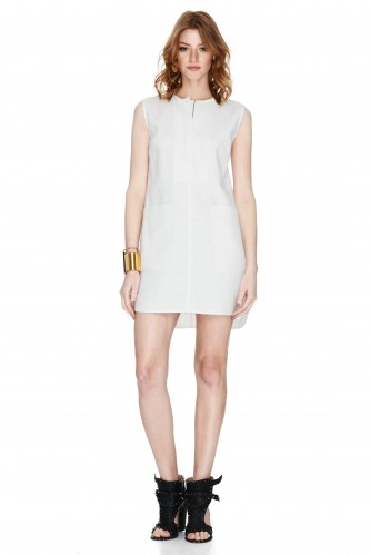 White Viscose And Ramie-Blend Dress - PNK Casual