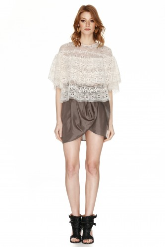 Off White Crocheted Lace Blouse - PNK Casual