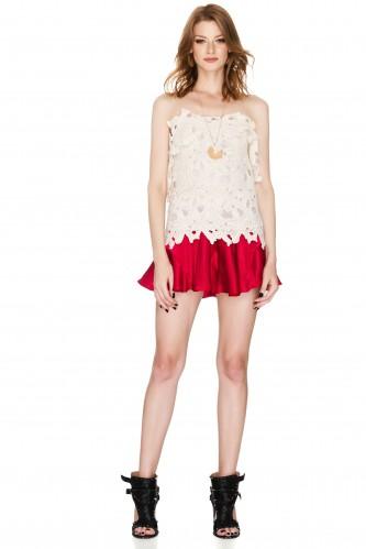 Red Satin Ruffled Shorts - PNK Casual