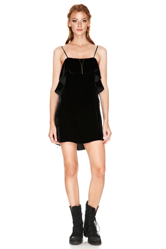 Black Silk Velvet Mini Dress - PNK Casual