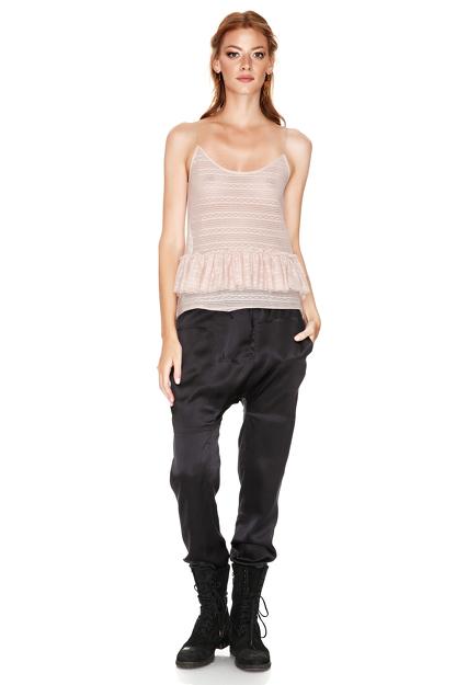 Black Silk Track Pants