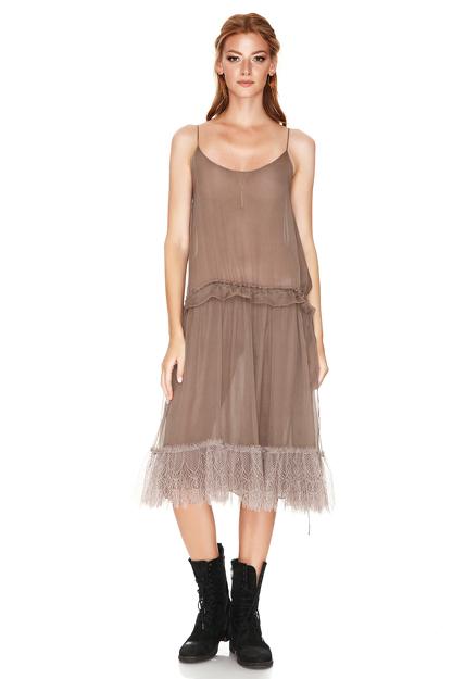 Light Brown Silk Midi Dress