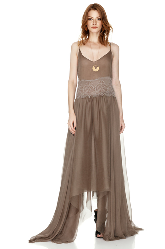 Light Brown Silk Maxi Dress - PNK Casual