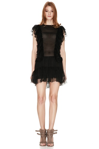 Black Silk Ruffled Mini Dress - PNK Casual