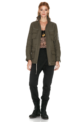 Army Green Jacket With Embroidery - PNK Casual