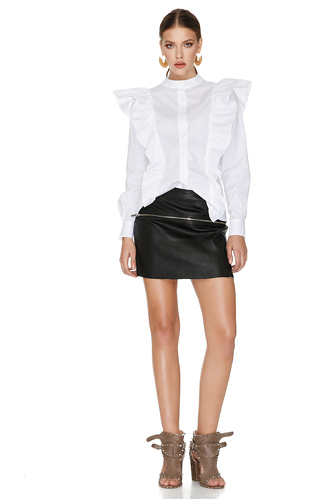 White Ruffled Shirt - PNK Casual