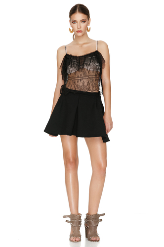 Black Mini Skirt With Folded Front Detail - PNK Casual