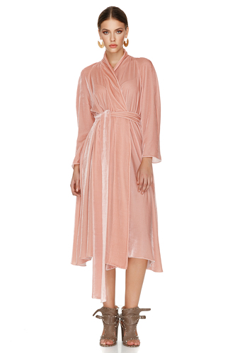 Pink Velvet Midi Dress - PNK Casual
