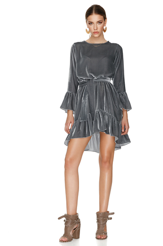 Grey Velvet Mini Dress - PNK Casual