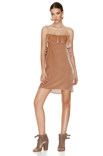 Beige Velvet Backless Mini Dress - PNK Casual