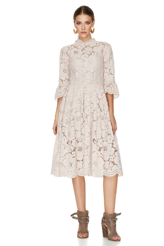 Beige Pink Floral Lace Midi Dress - PNK Casual