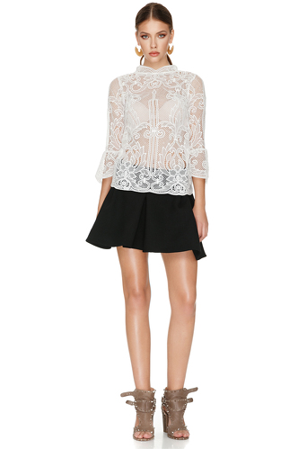 White Crocheted Lace Top - PNK Casual