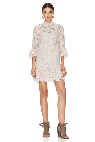 Beige Pink Floral Lace Mini Dress - PNK Casual