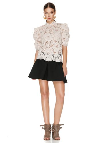 Beige Pink Floral Lace Blouse - PNK Casual