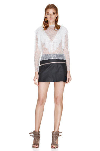 White Lace Ruffled Blouse - PNK Casual