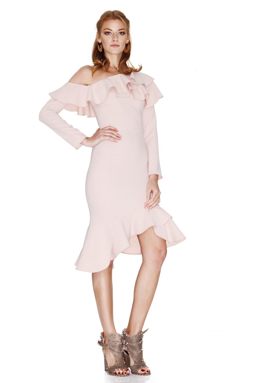 Pink One Shoulder Dress Pnk Casual