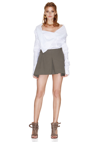 White Shirt With Asymmetric Collar - PNK Casual