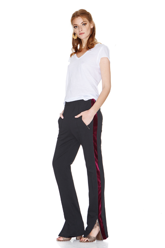 Black Pants With Velvet Side Detail - PNK Casual