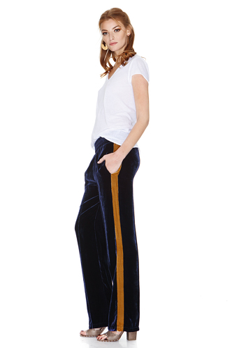Bleumarine Velvet Pants With Side Detail - PNK Casual