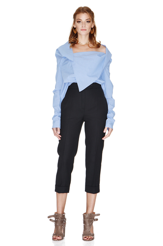 Blue Shirt With Asymmetric Collar - PNK Casual