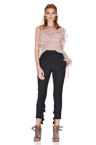 Black Pants With Ruffles - PNK Casual
