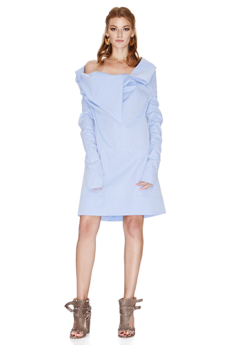 Blue Dress With Asymmetric Collar - PNK Casual