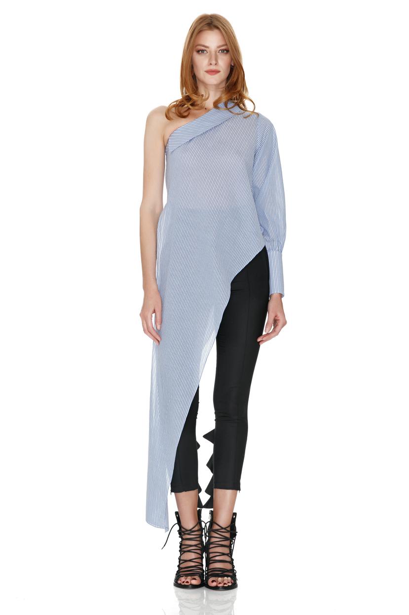 blue one shoulder long shirt pnk casual. Black Bedroom Furniture Sets. Home Design Ideas