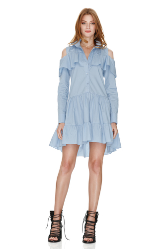 Blue Dress With Ruffles - PNK Casual