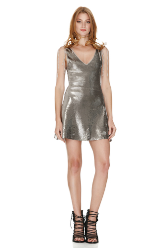 Silver Sequins Mini Dress With Silk Detailing - PNK Casual