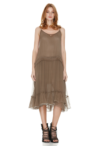 Light Brown Silk Midi Dress With Sequins - PNK Casual