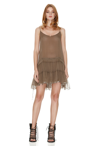 Light Brown Silk Mini Dress With Sequins - PNK Casual