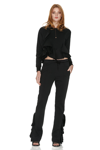 Black Cotton Pants With Silk Ruffles - PNK Casual