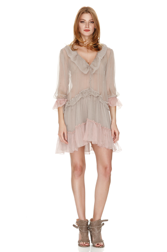Beige Silk Ruffled Dress With Pink Details - PNK Casual