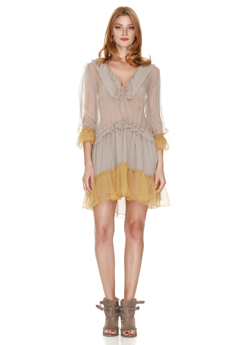 Beige Silk Ruffled Dress With Yellow Details - PNK Casual