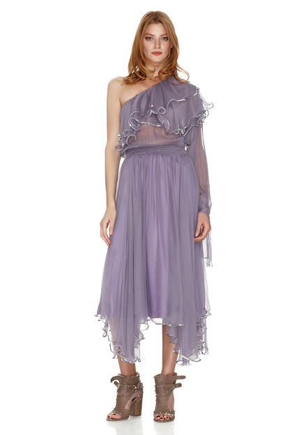 Lavender Silk Chiffon One Shoulder Midi Dress