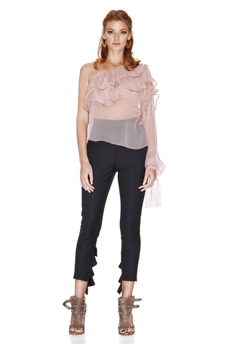 Rose Silk Chiffon One Shoulder Blouse - PNK Casual