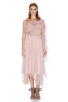 Rose Silk Chiffon One Shoulder Blouse
