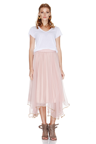 Rose Silk Chiffon Midi Skirt - PNK Casual