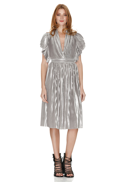 Pleated Lamé Midi Dress