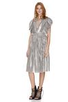 Pleated Lamé Midi Dress