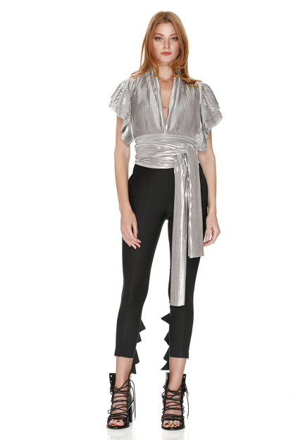 Pleated Lamé Top