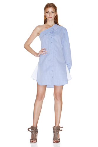 Blue One Shoulder Dress - PNK Casual