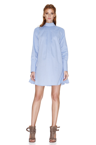 Blue Cotton Mini Dress - PNK Casual