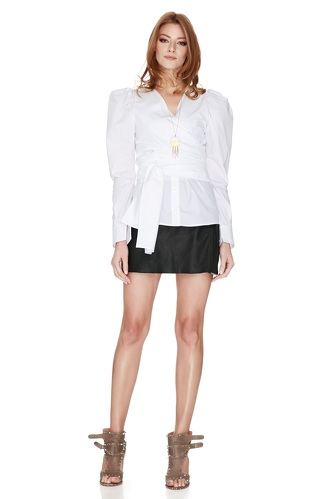 White Wrap-Effect Shirt - PNK Casual